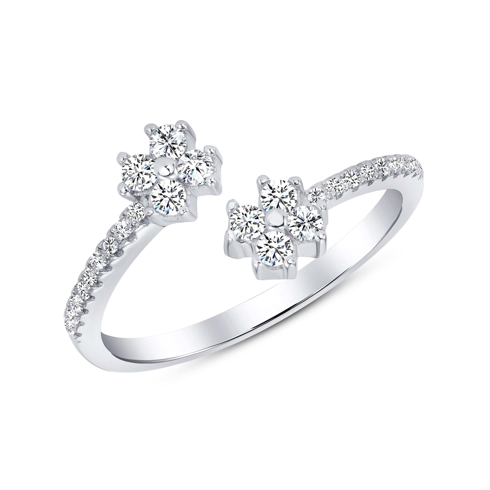 Sterling Silver Endless 2 Flower Cz Ring