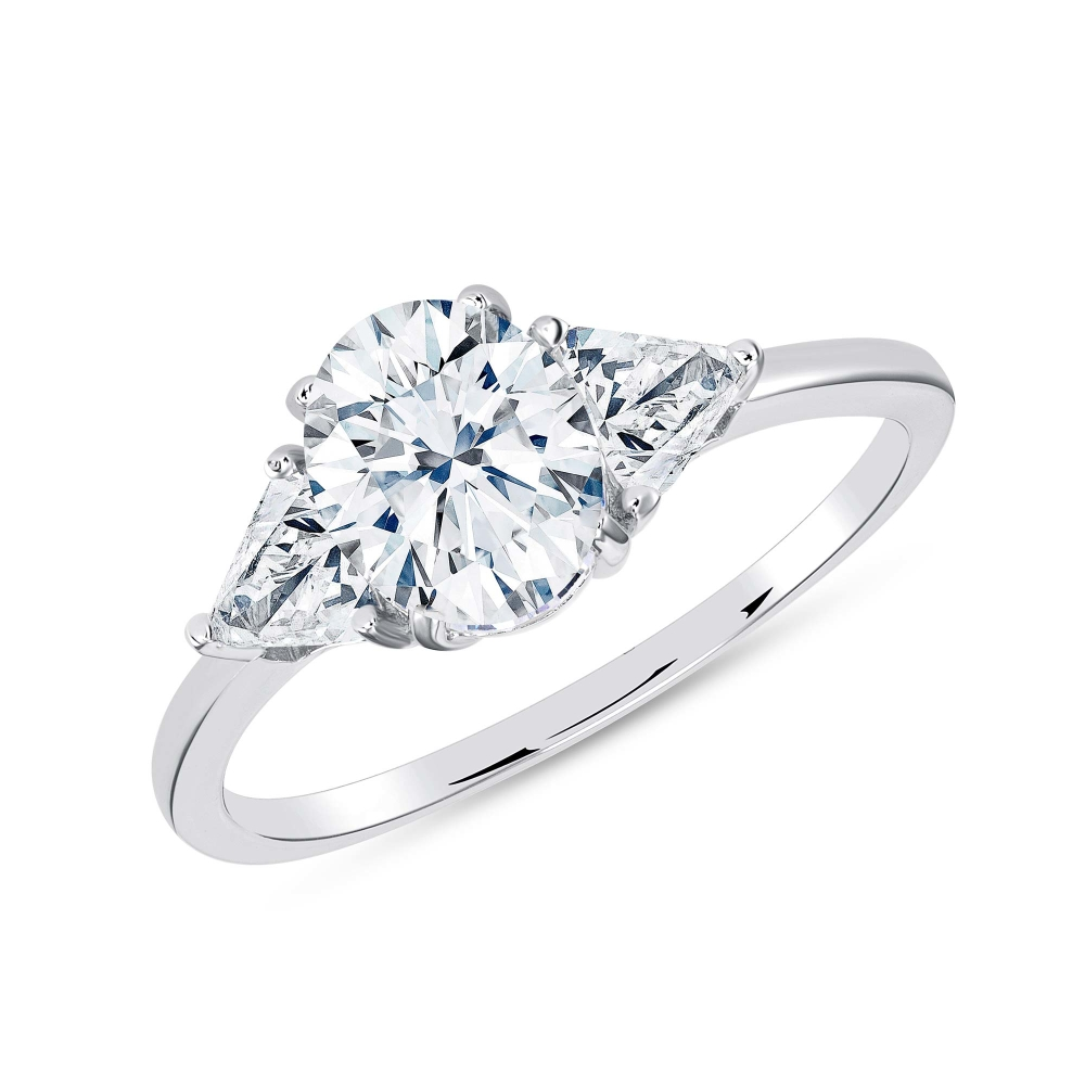 Sterling Silver 3 Triangle Cz Solitaire Ring