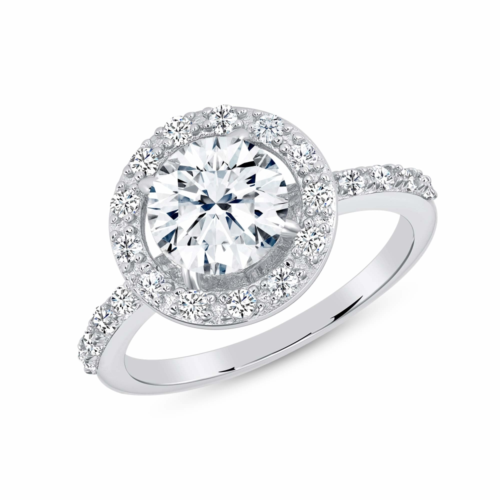 Sterling Silver Halo Style Cz Ring