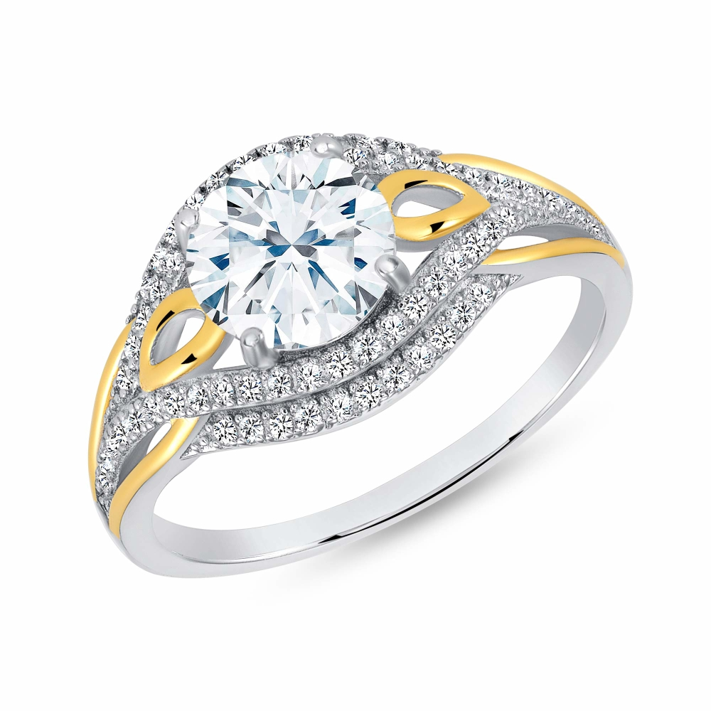 Sterling Silver 2 Tone Pave Setting Solitaire Ring