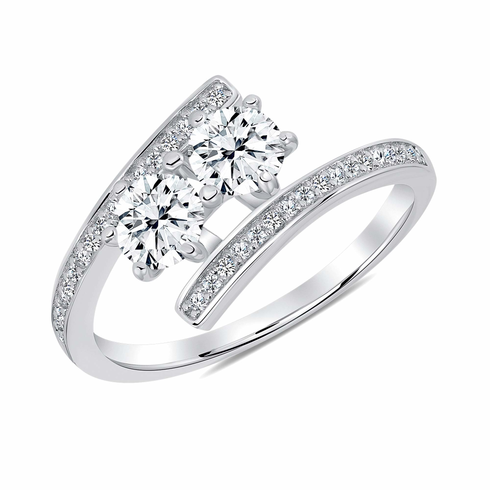 Sterling Silver Two Round Cz Ring