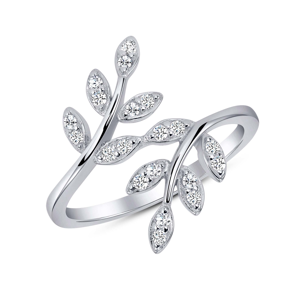 925 Sterling Silver Dainty Leaves Ring