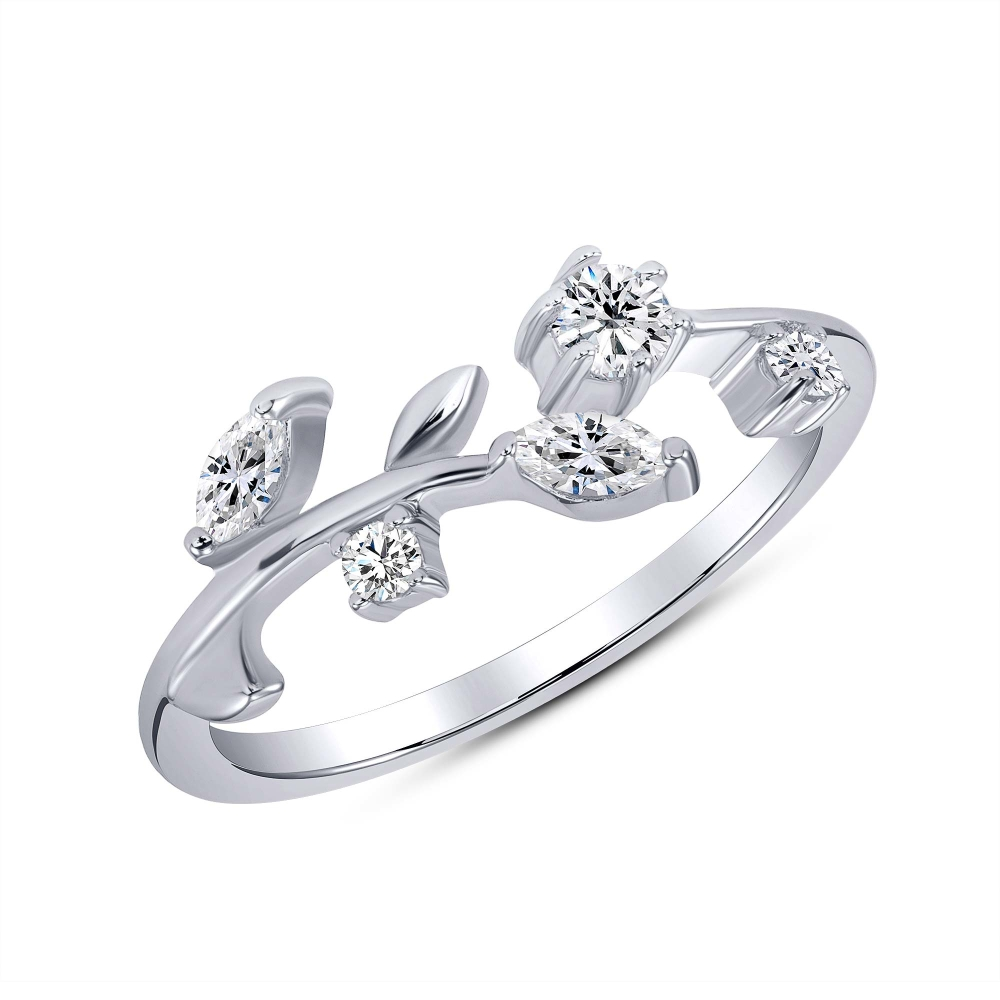 Sterling Silver Endless Marquise Cz Dainty Ring