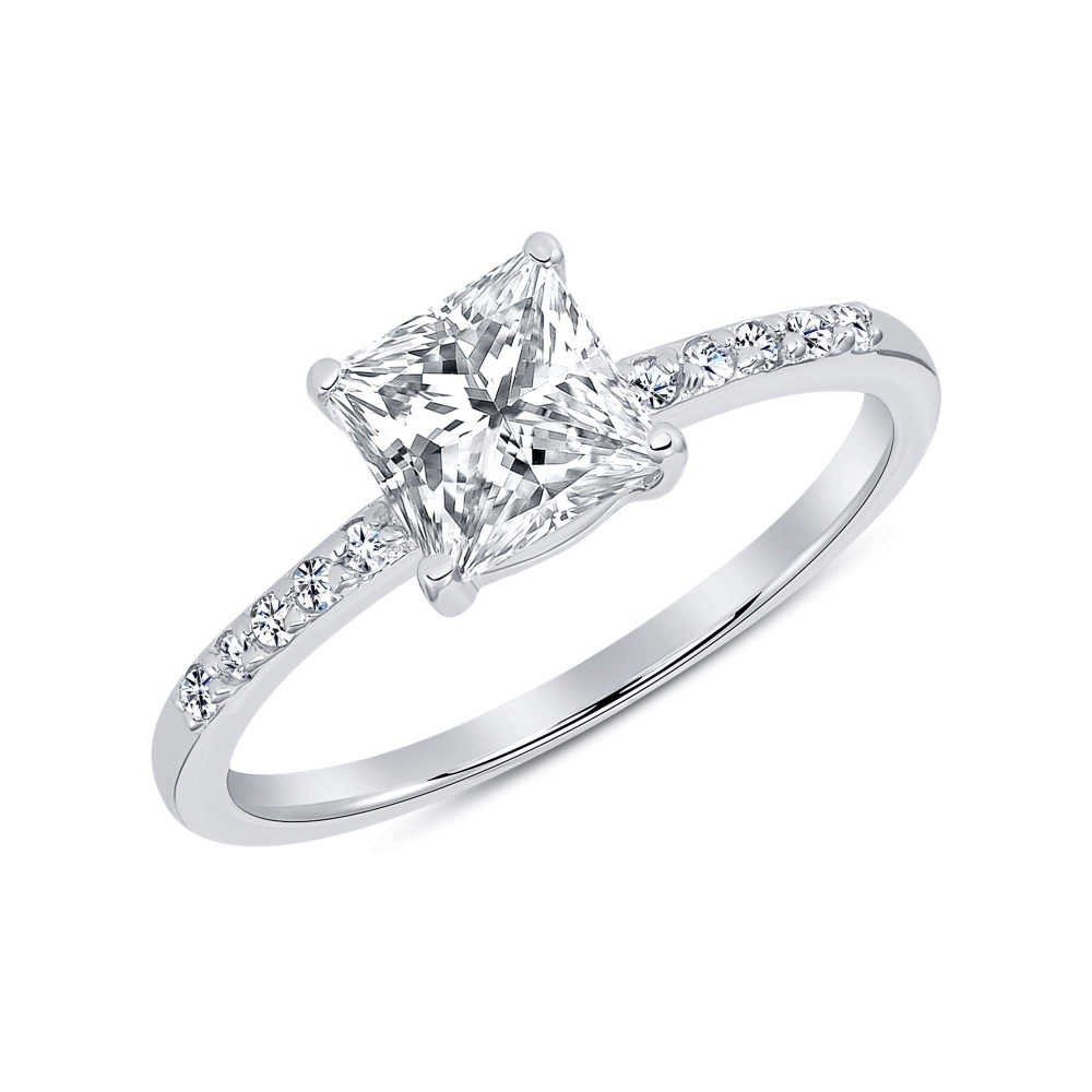 Sterling Silver Square Cz Solitaire Ring