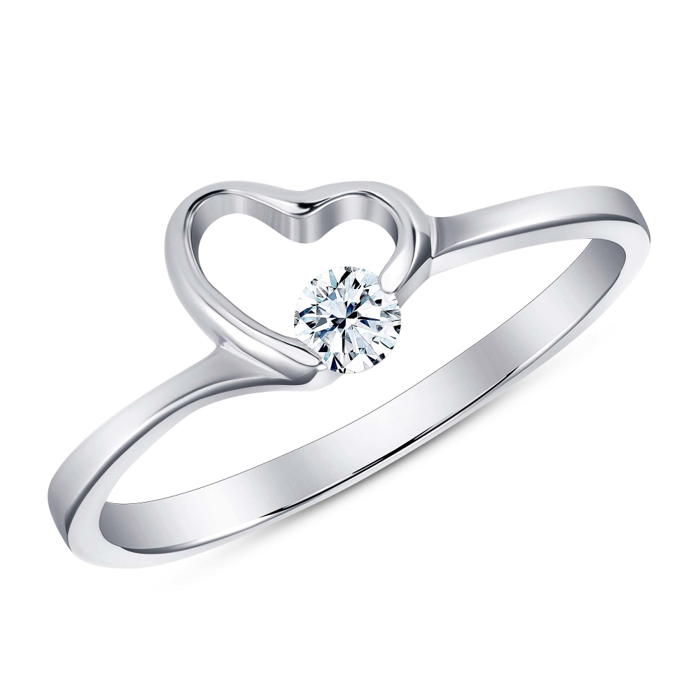 Sterling Silver Heart Single Corner Cz Dainty Ring