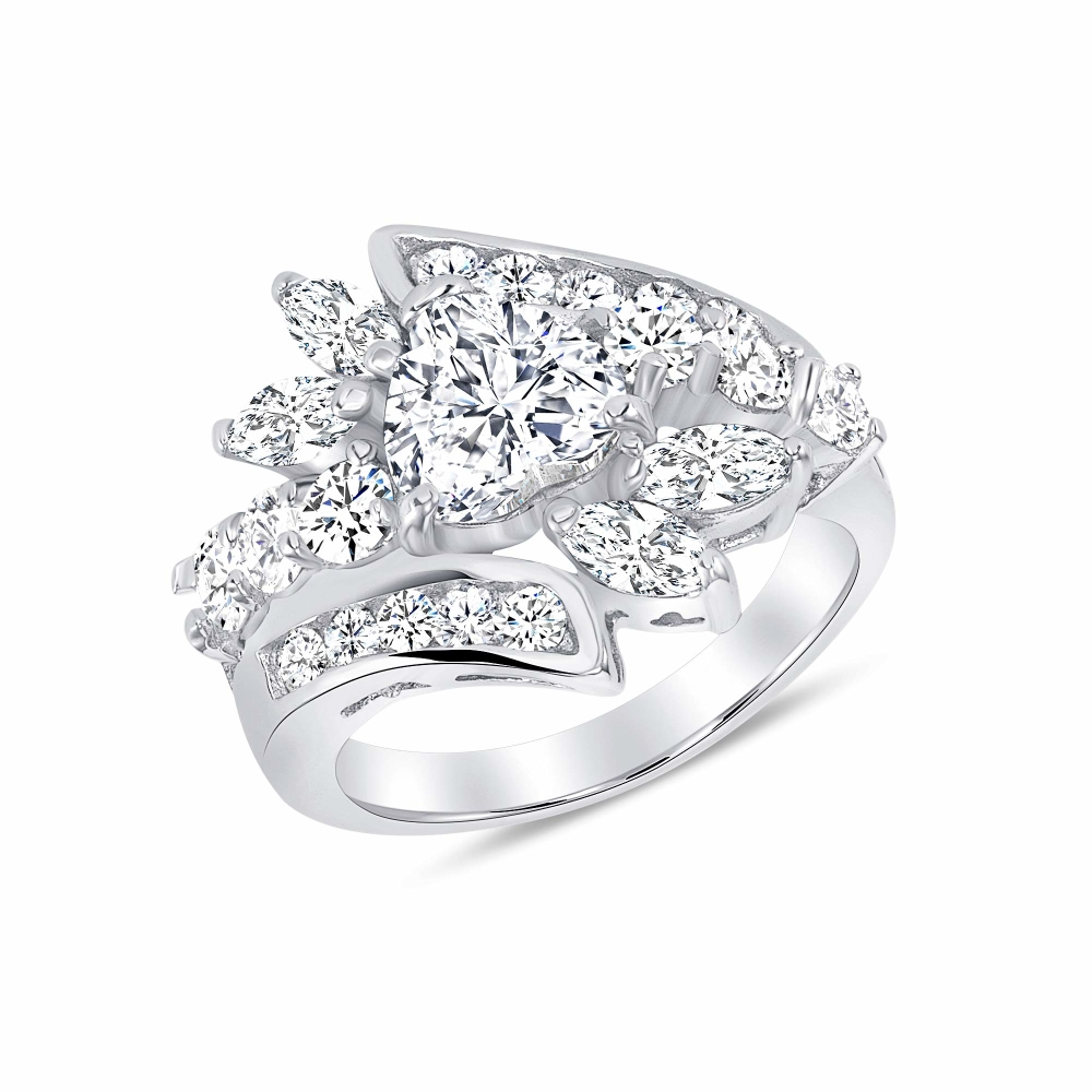 Sterling Silver Multi Cz Heart Cz Ring