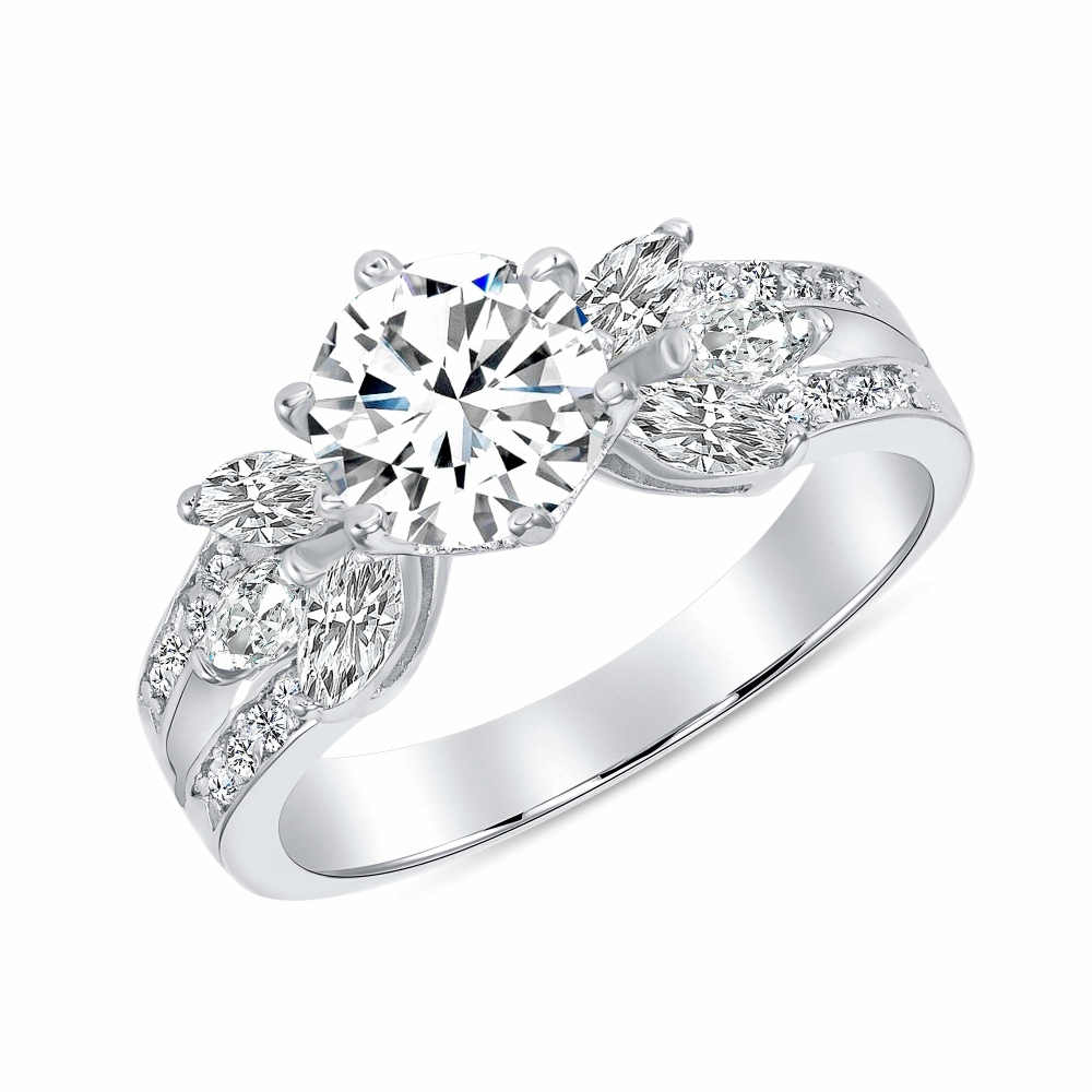 Sterling Silver Marquise And Solitaire Ring