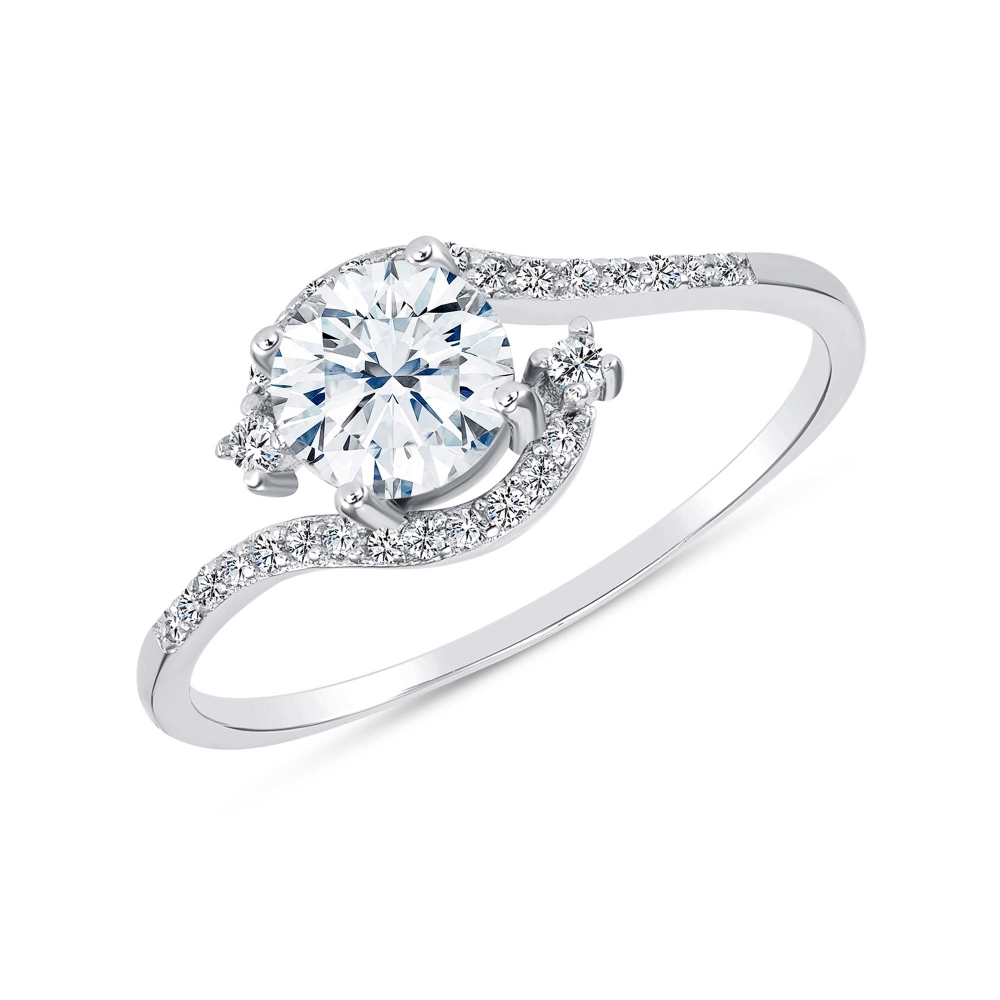 Sterling Silver Dainty Solitaire Ring