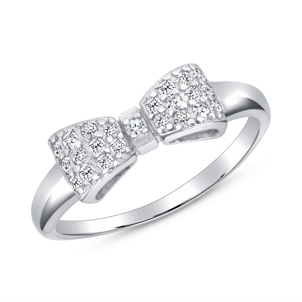 Sterling Silver Rhodium Plated Cz Bow Ring