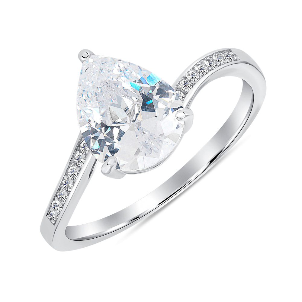 Sterling Silver Pear Shape Solitaire Ring
