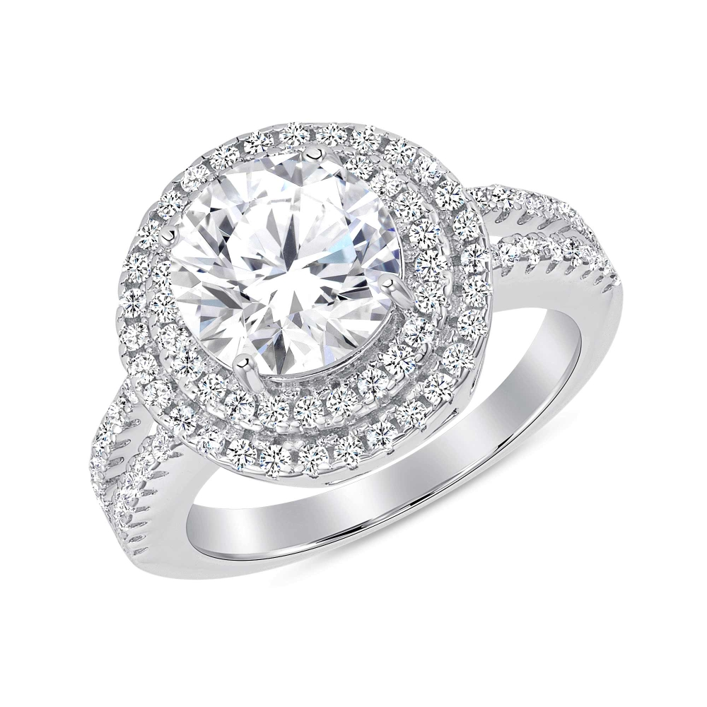 Sterling Silver Two Row Halo Style Solitaire Ring