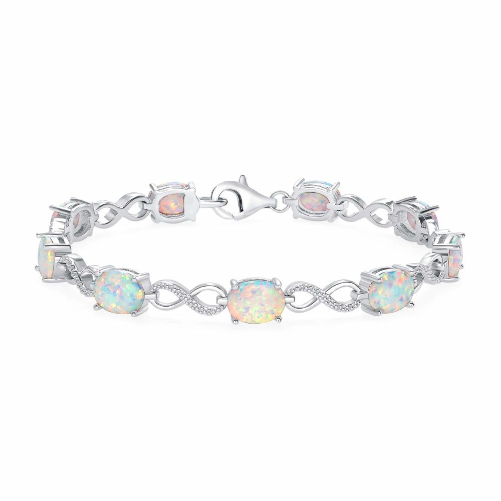 Sterling Silver Infiniti Style Opal Bracelet