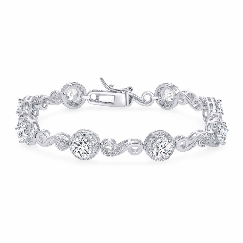 Sterling Silver Halo Style Full Cubic Zirconia Br