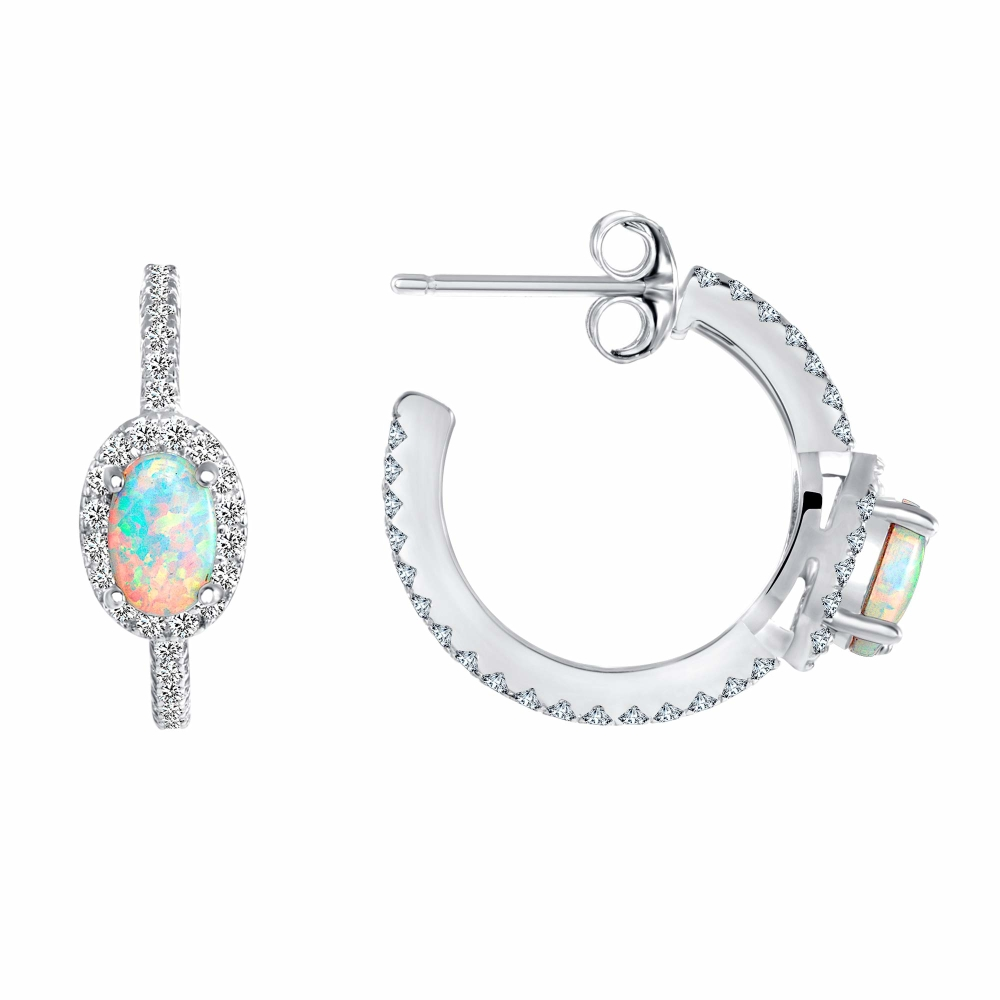 Sterling Silver Earring With Opal Center Hoop