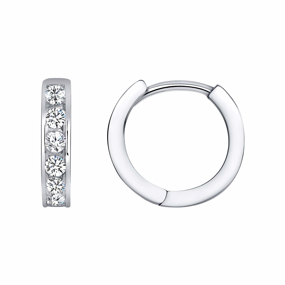 Sterling Silver 1 Row Designed Hoop Earring