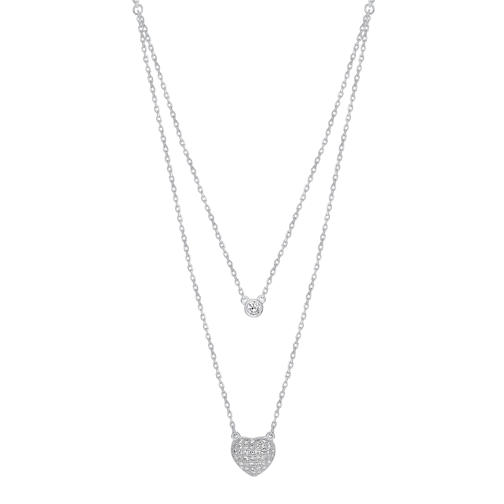 Sterling Silver One Row Bezzel & Micro Pave Heart