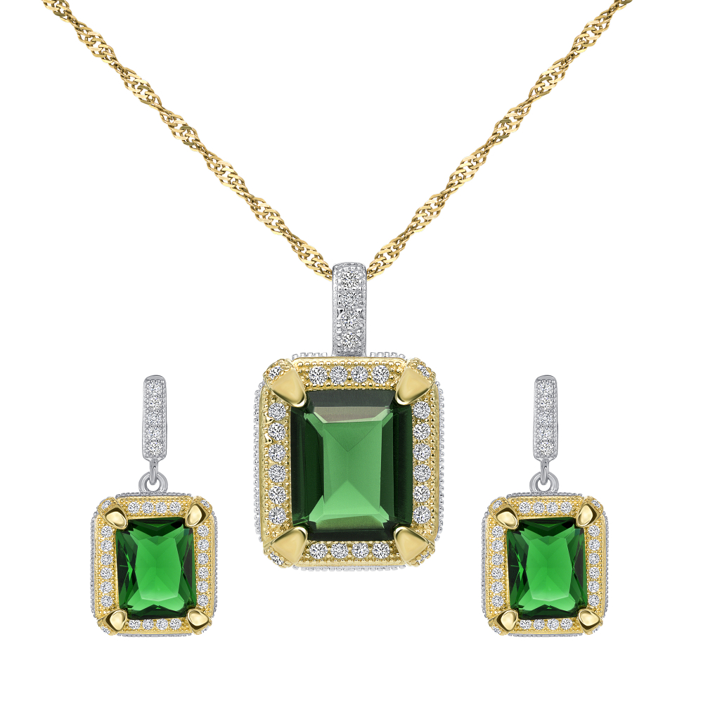 Sterling Silver 2 Tone Emerald Set