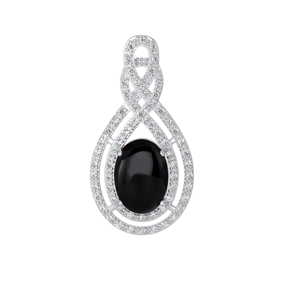 Sterling Silver 2 Row Drop & Onyx