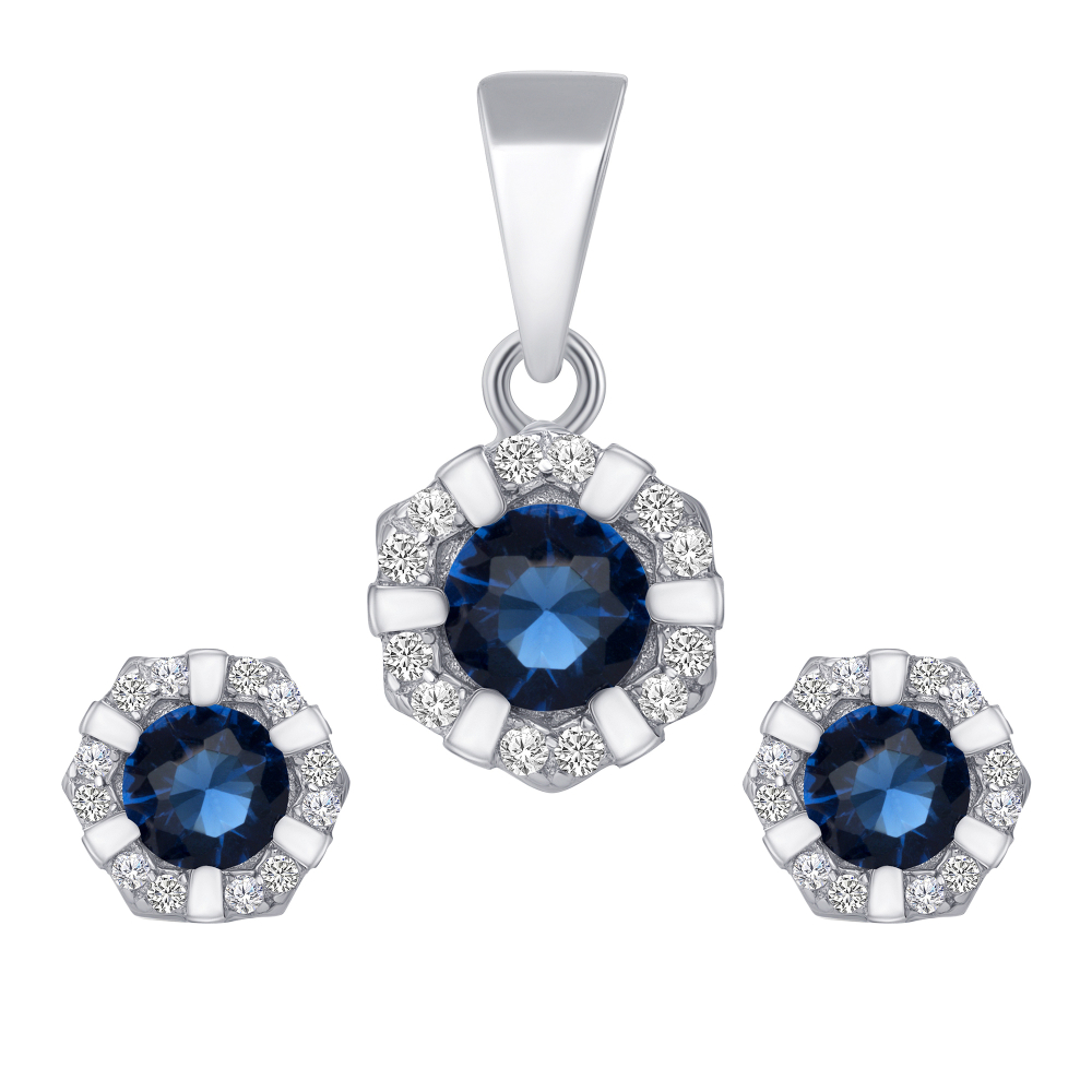 Sterling Silver Flower Cz Set