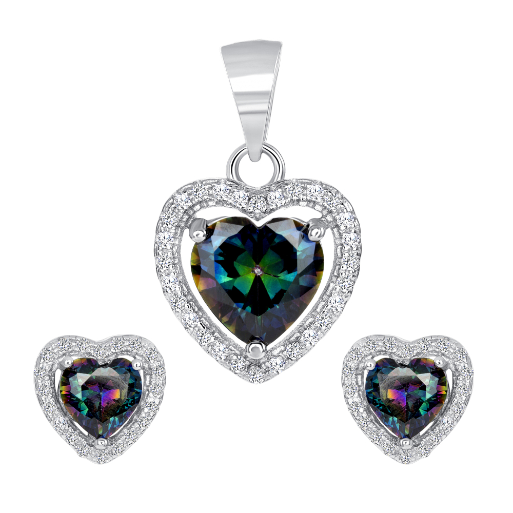 Sterling Silver Mystic Topaz Heart Set