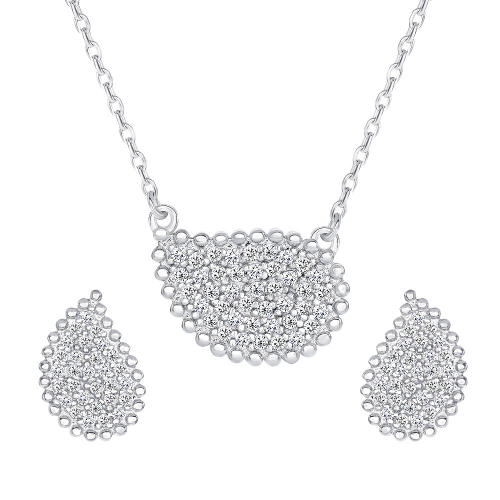 Sterling Silver Tear Micro Pave Set
