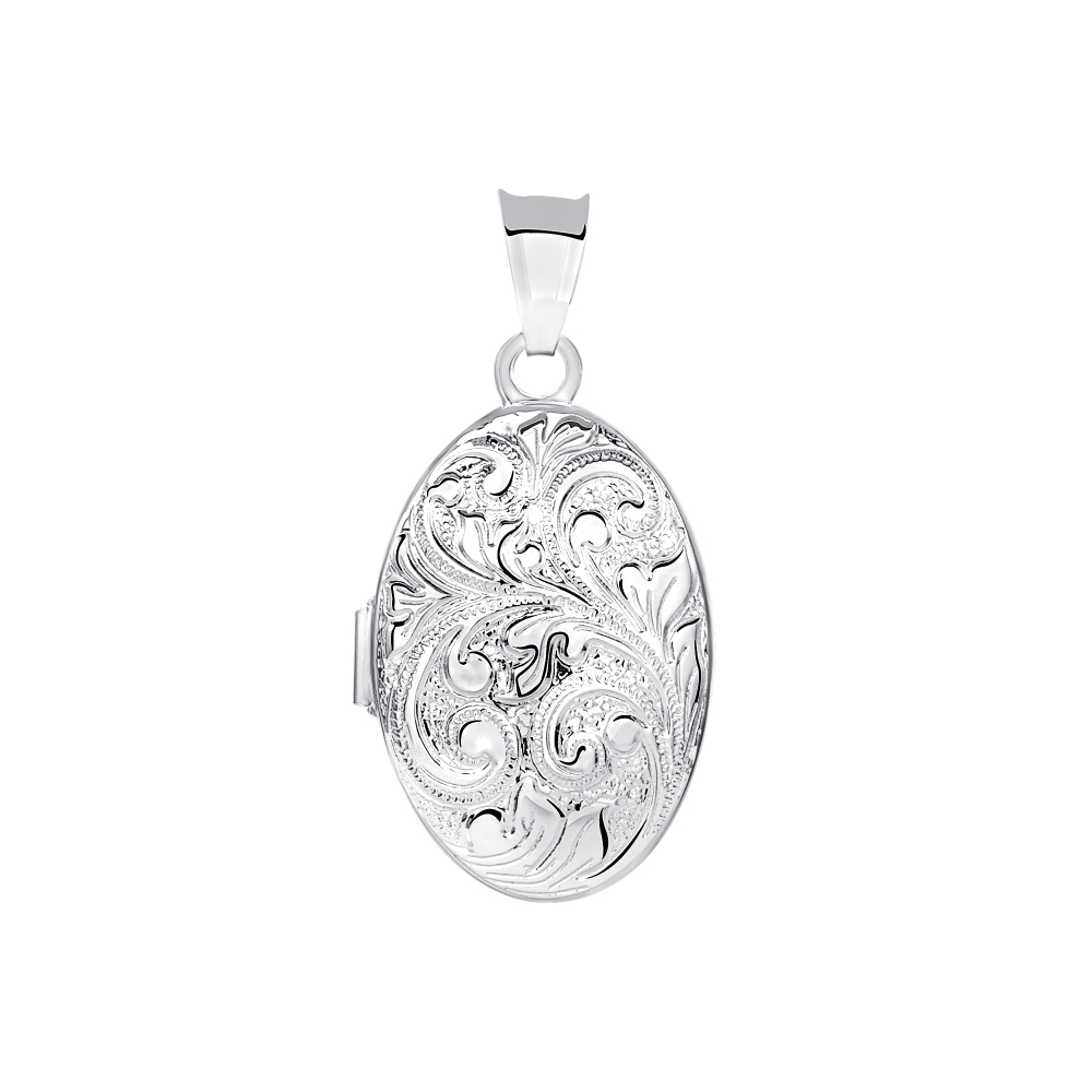 Sterling Silver Oval Paisley Locket