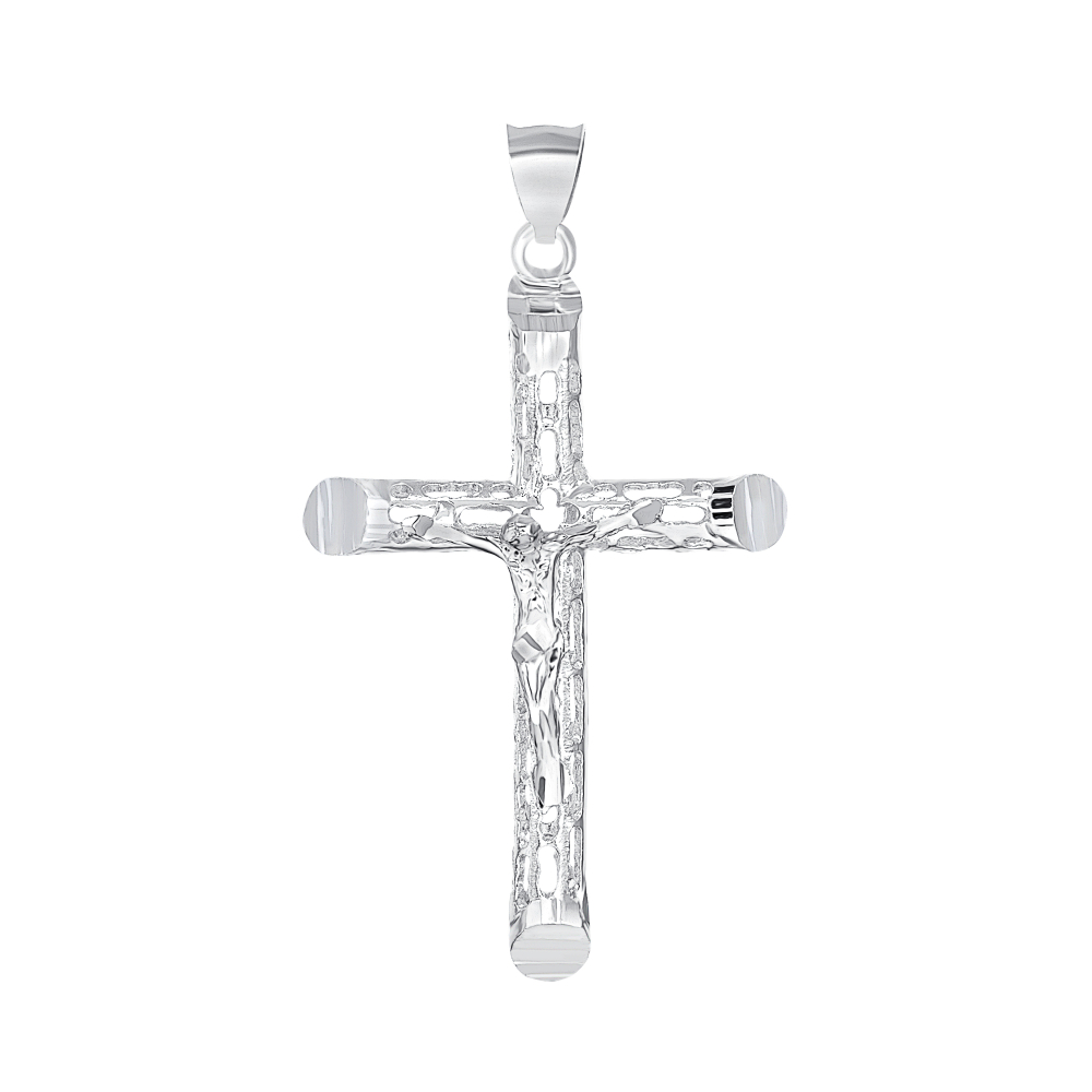 Sterling Silver Tube Fliggerie Jesus Cross