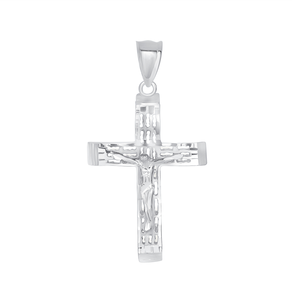 Sterling Silver Square Fligirrie Jesus Cross