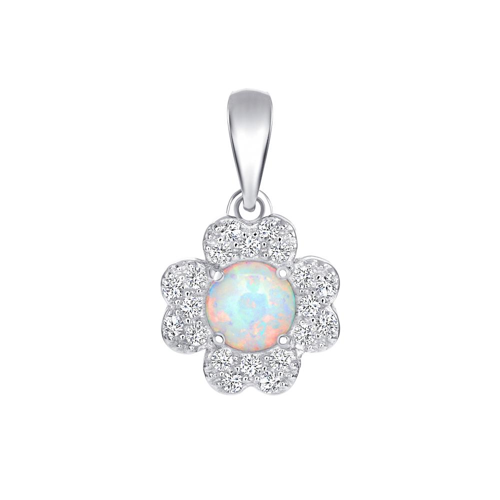 Sterling Silver Flower Opal Pendant