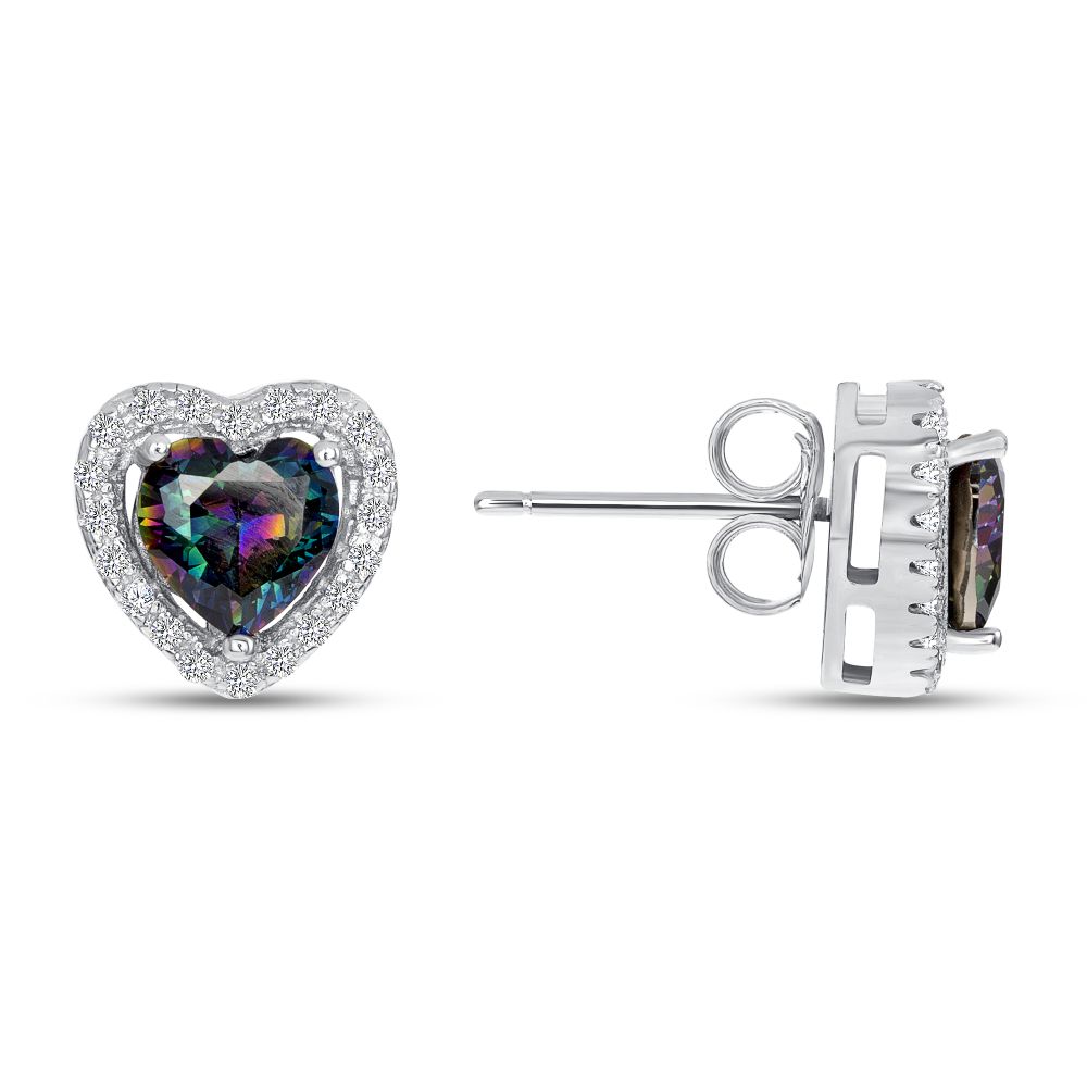 Sterling Silver Heart Mystic Topaz Earrings