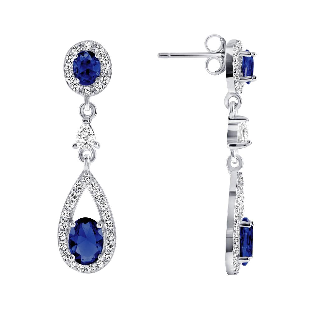 Sterling Silver Blue Dangling Earrings