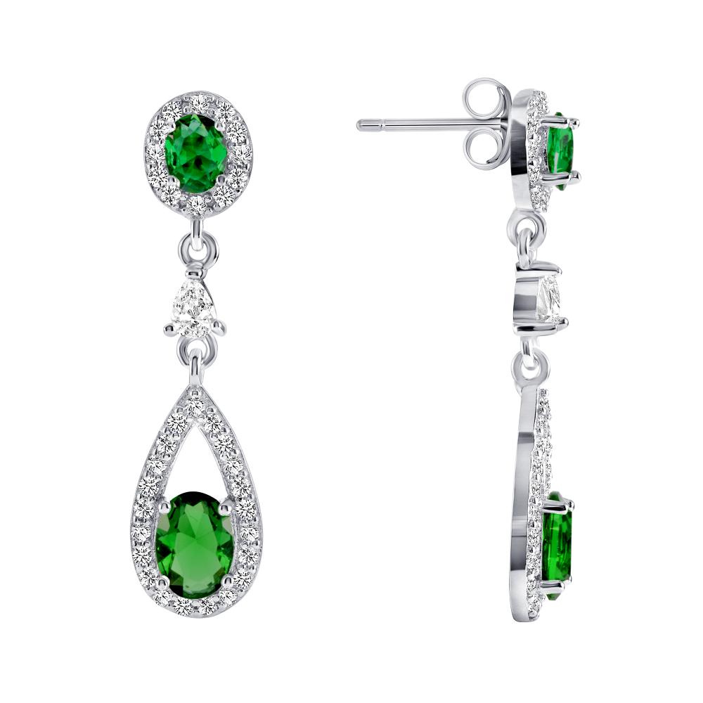 Sterling Silver Emerald Dangling Earrings