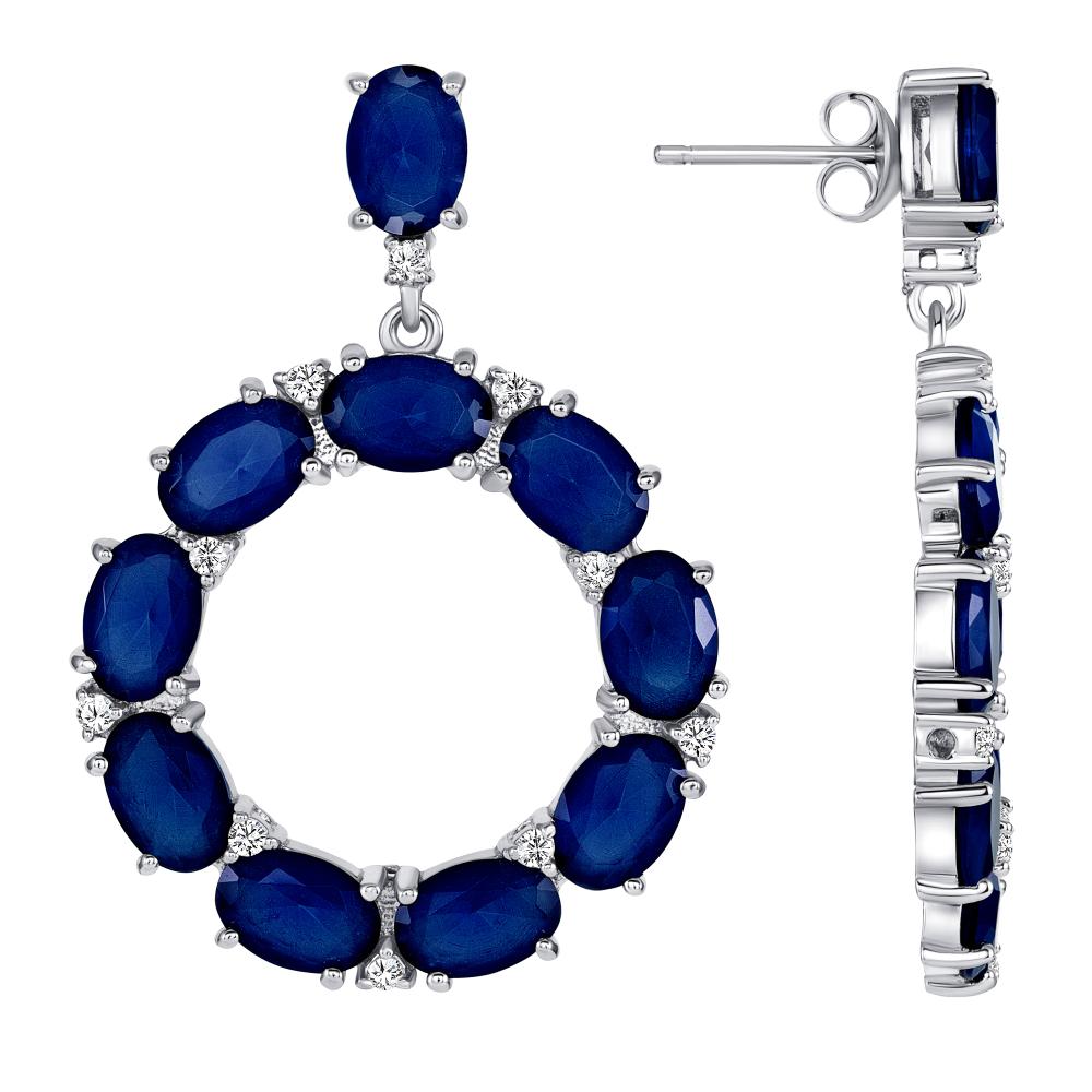 Sterling Silver Round Multi Blue Oval Earrings