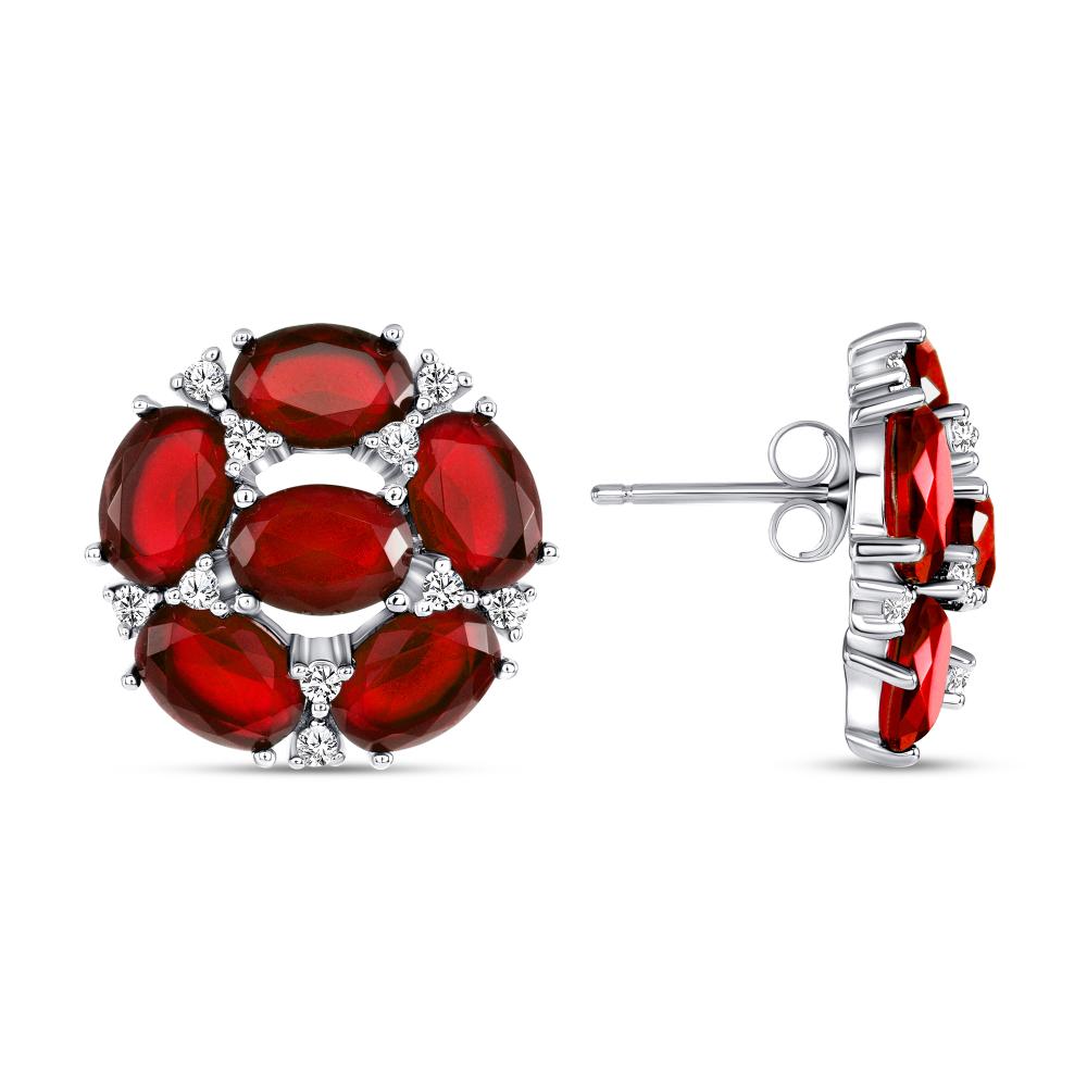 Sterling Silver Fancy Flower Red Earrings
