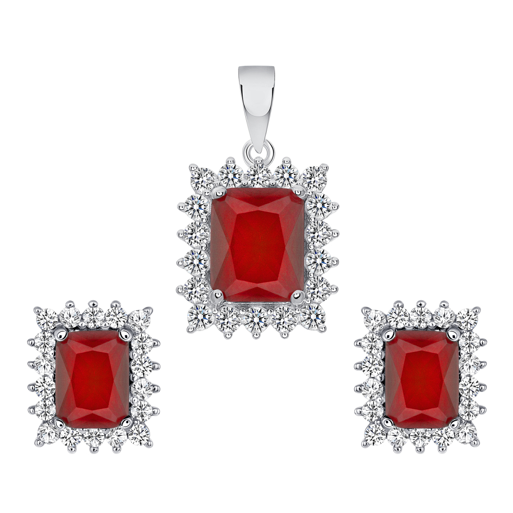 Sterling Silver  Ruby Matte Glass Set