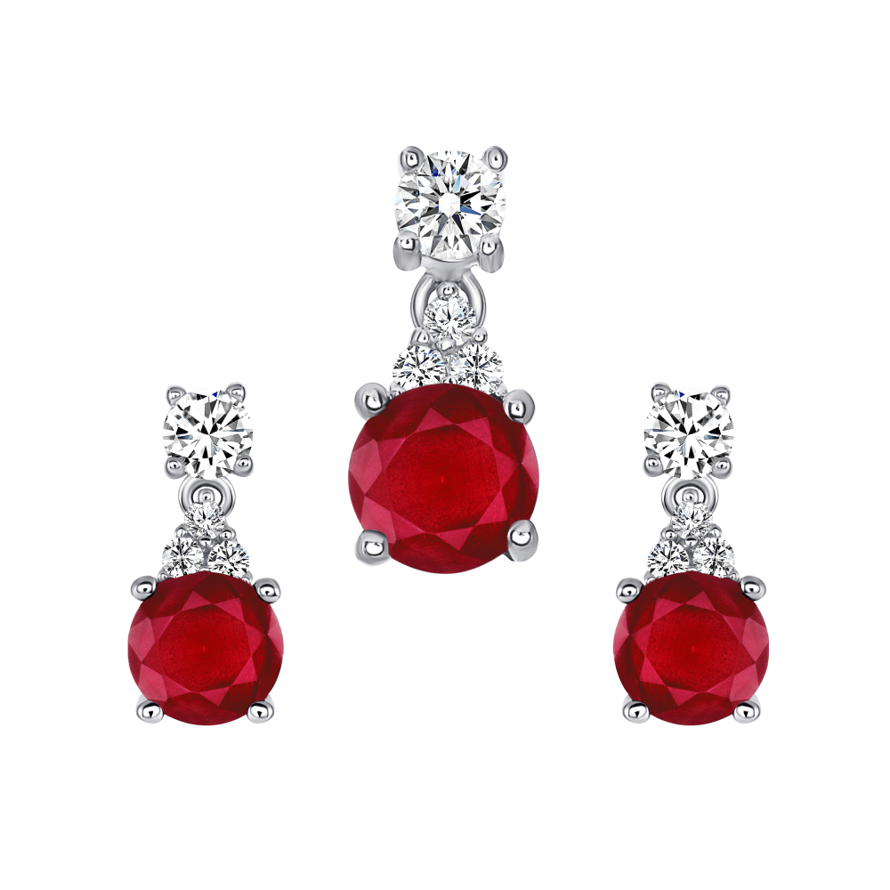 Sterling Silver Circle Ruby Matte Glass Set