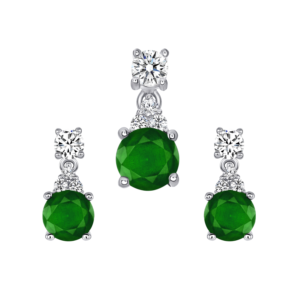 Sterling Silver Circle Emerald Matte Glass Set