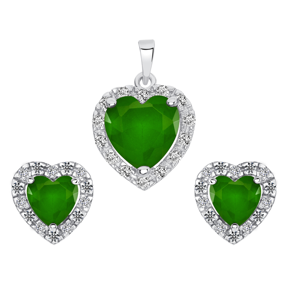 Sterling Silver Heart Emerald Matte Glass Set