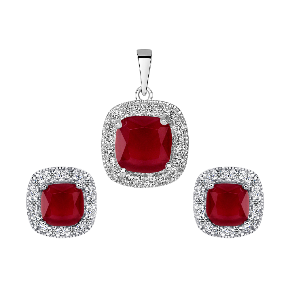 Sterling Silver Square Ruby Matte Glass Set