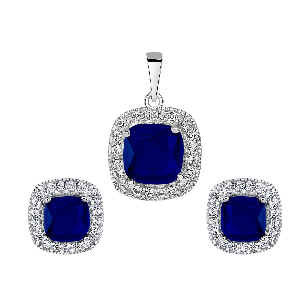 Sterling Silver Square Sapphire Matte Glass Set