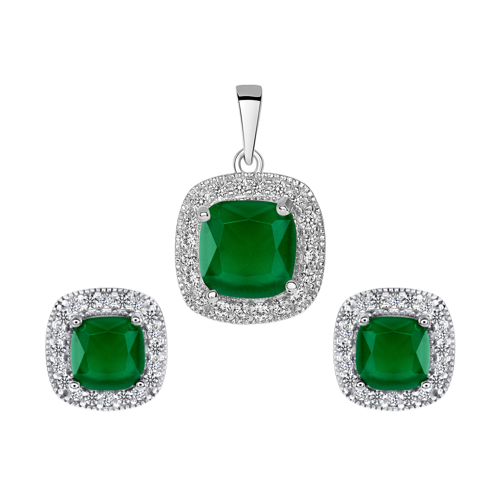 Sterling Silver Square Emerald Matte Glass Set
