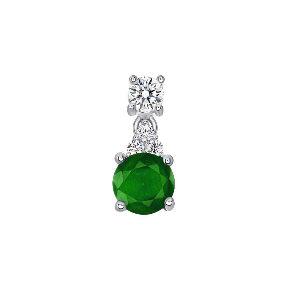 Sterling Silver Circle Emerald Matte Glass Pendant