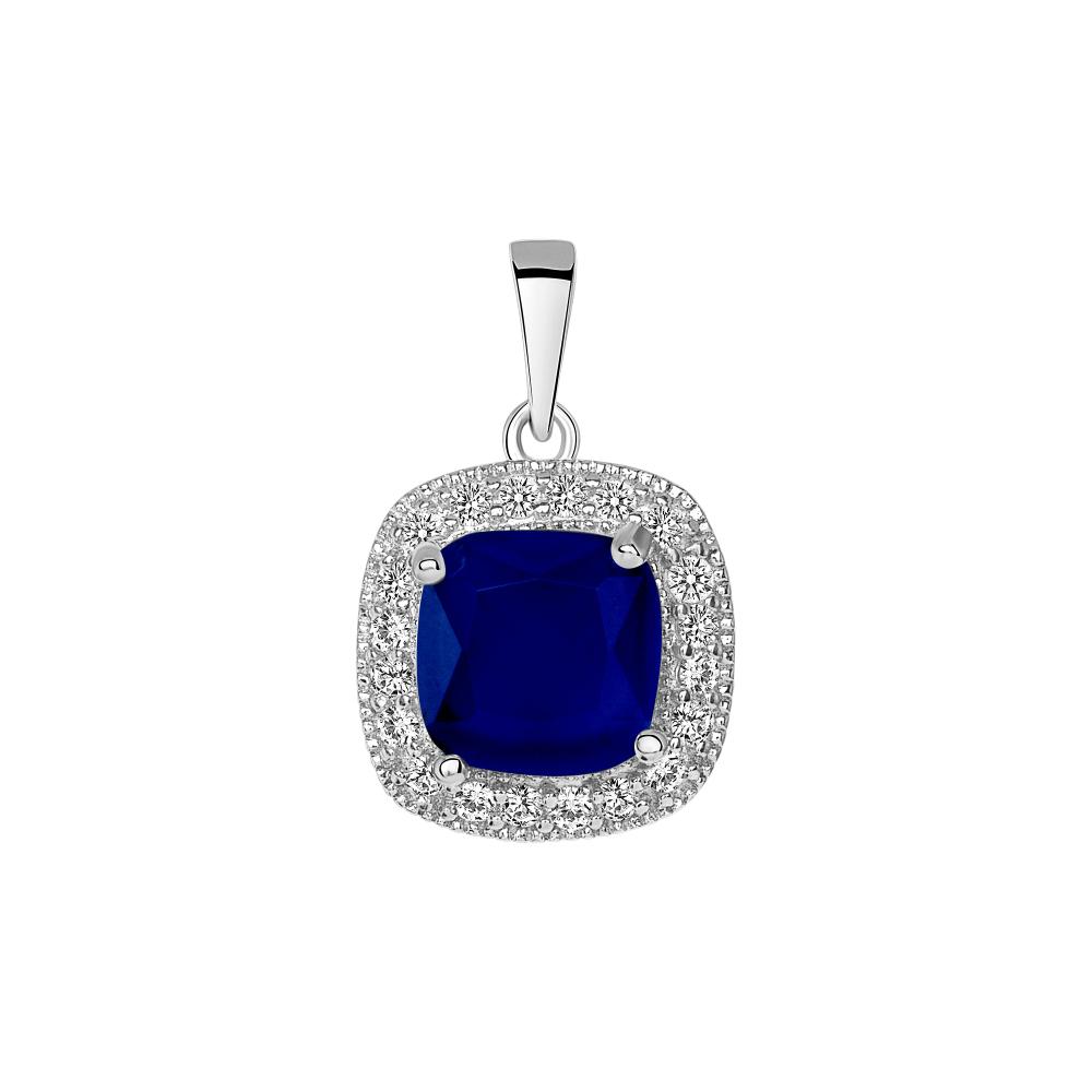 Sterling Silver Sapphire Matte Glass Pendant