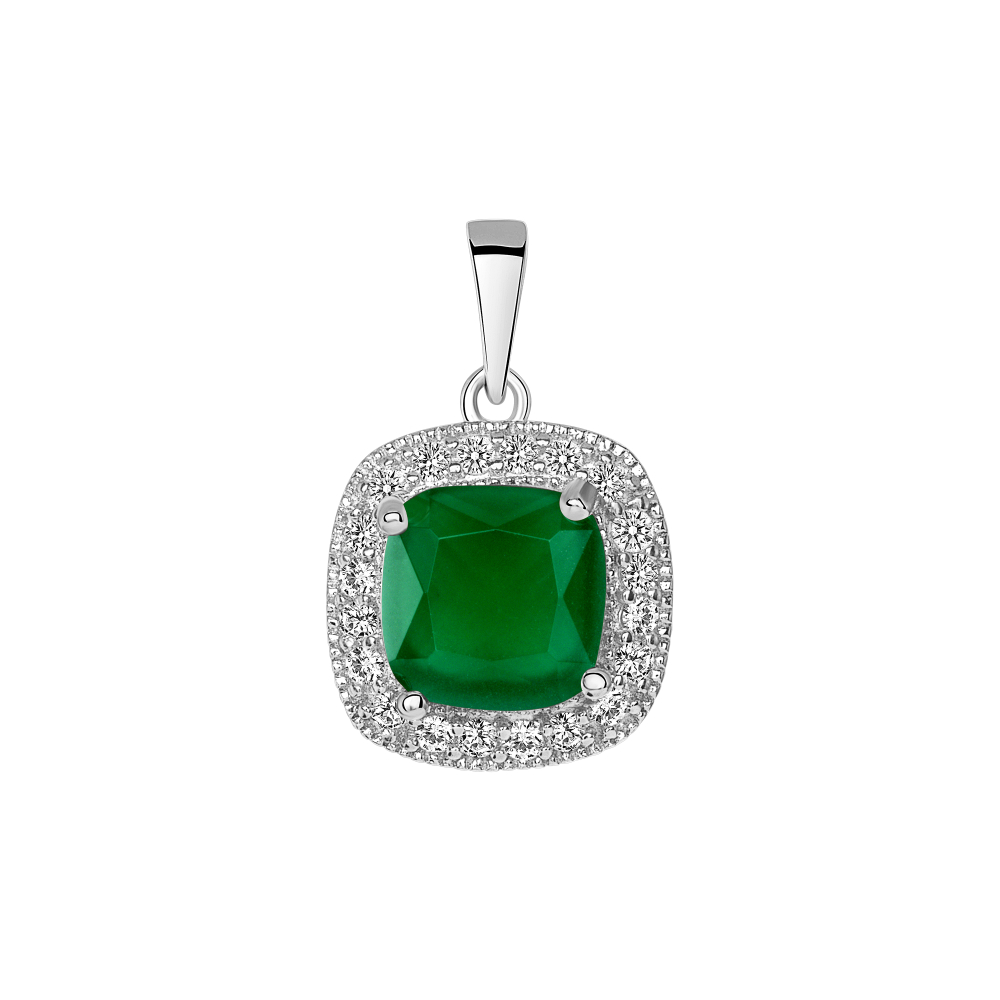 Sterling Silver Square Emerald Matte Glass Pendant