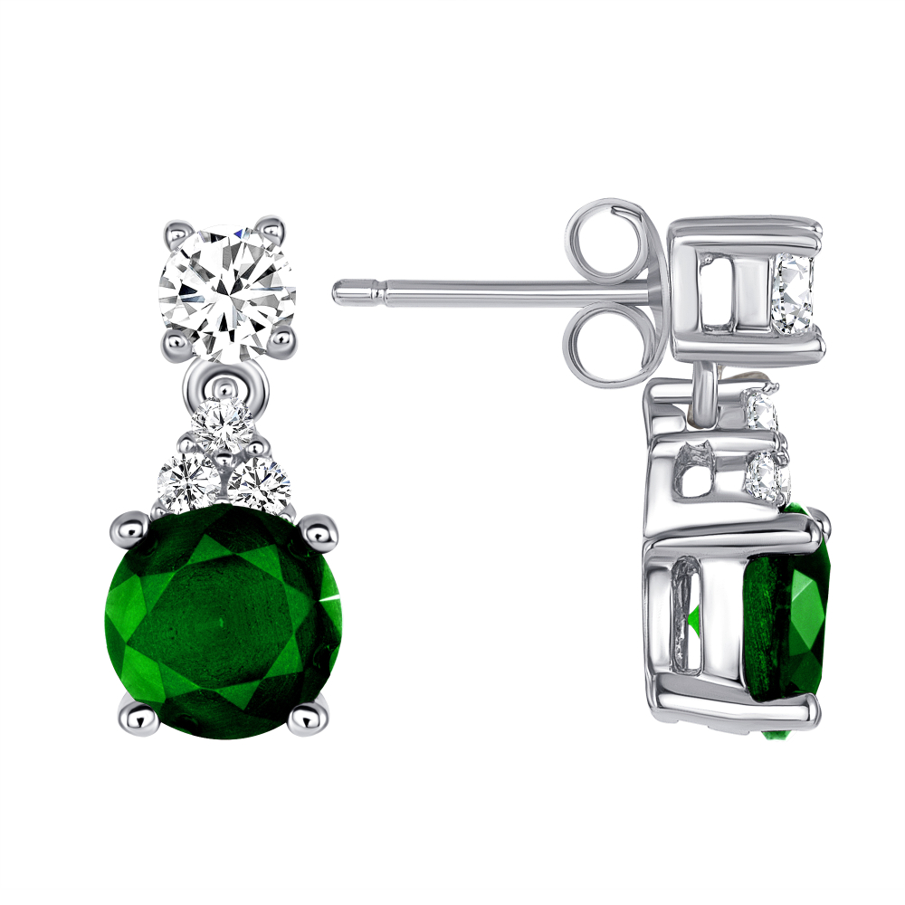 Sterling Silver Circle Emerald Matte Glass Earring