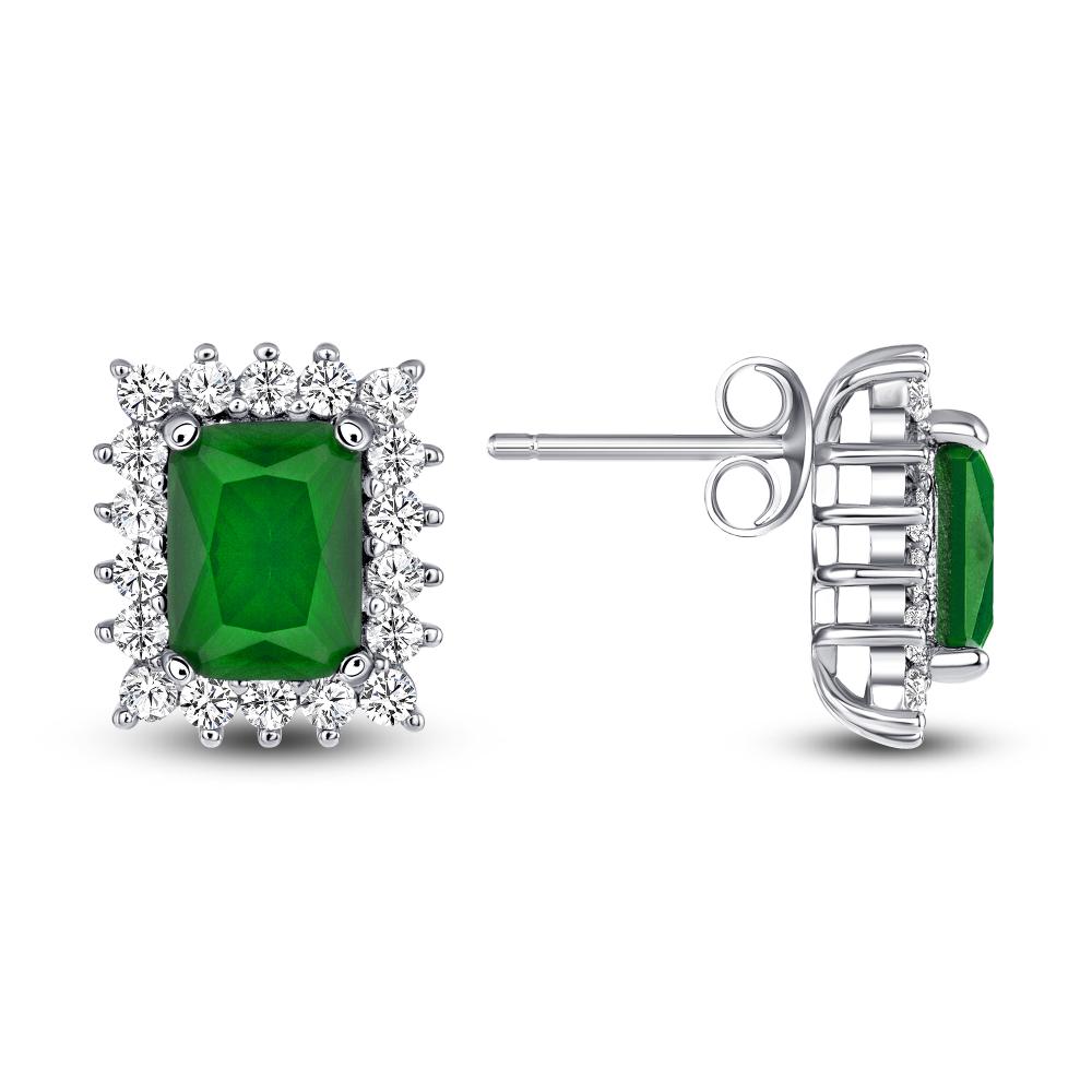 Sterling Silver Emerald Matte Glass Earrings
