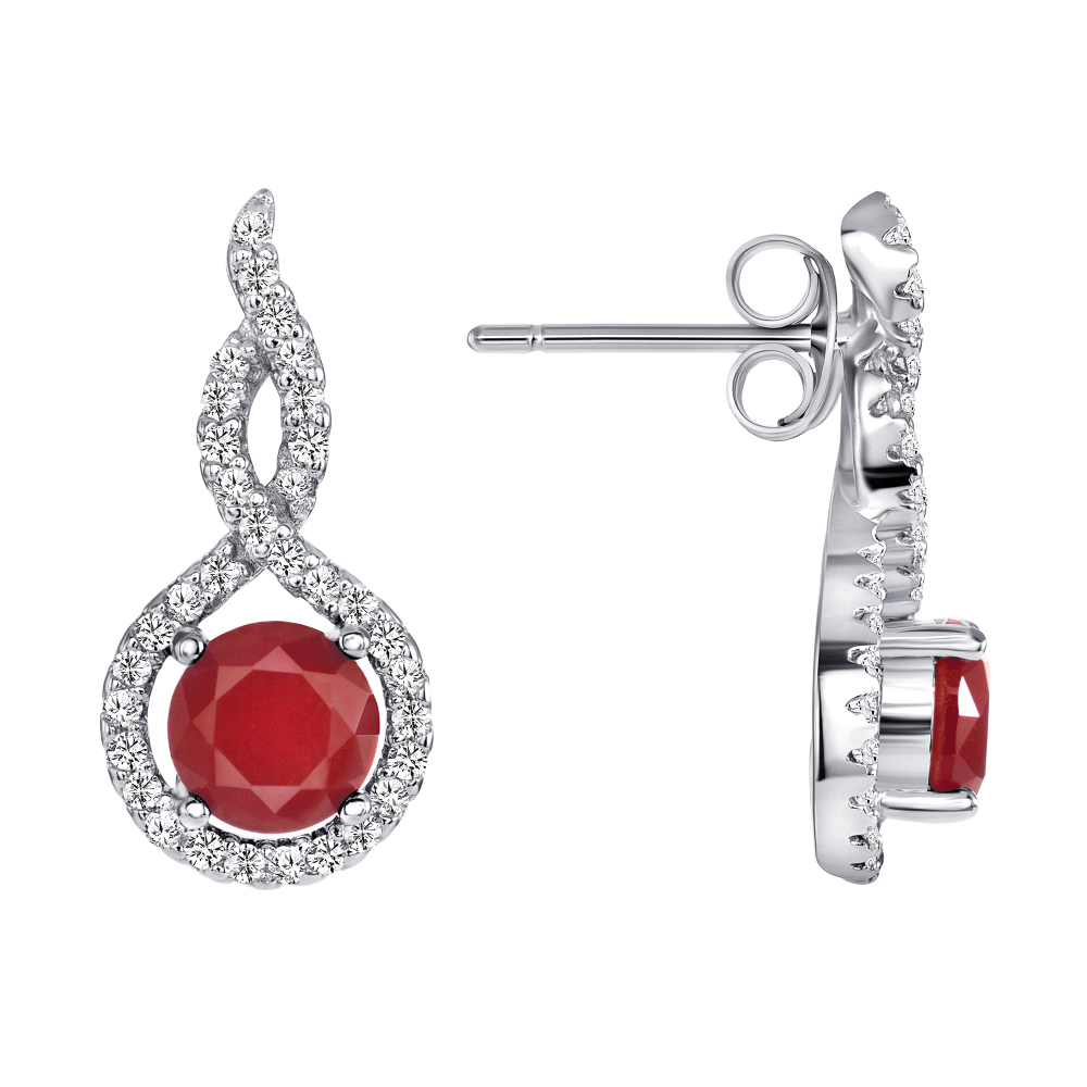Sterling Silver Ruby Matte Glass Earring