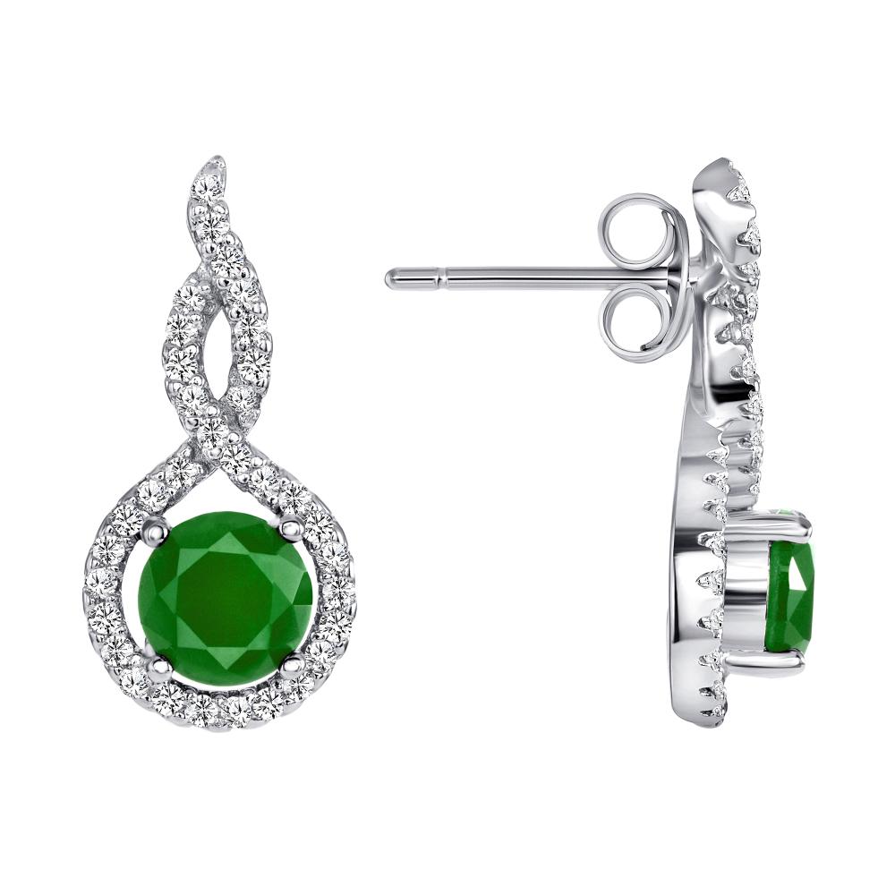 Sterling Silver Emerald Matte Glass Earring