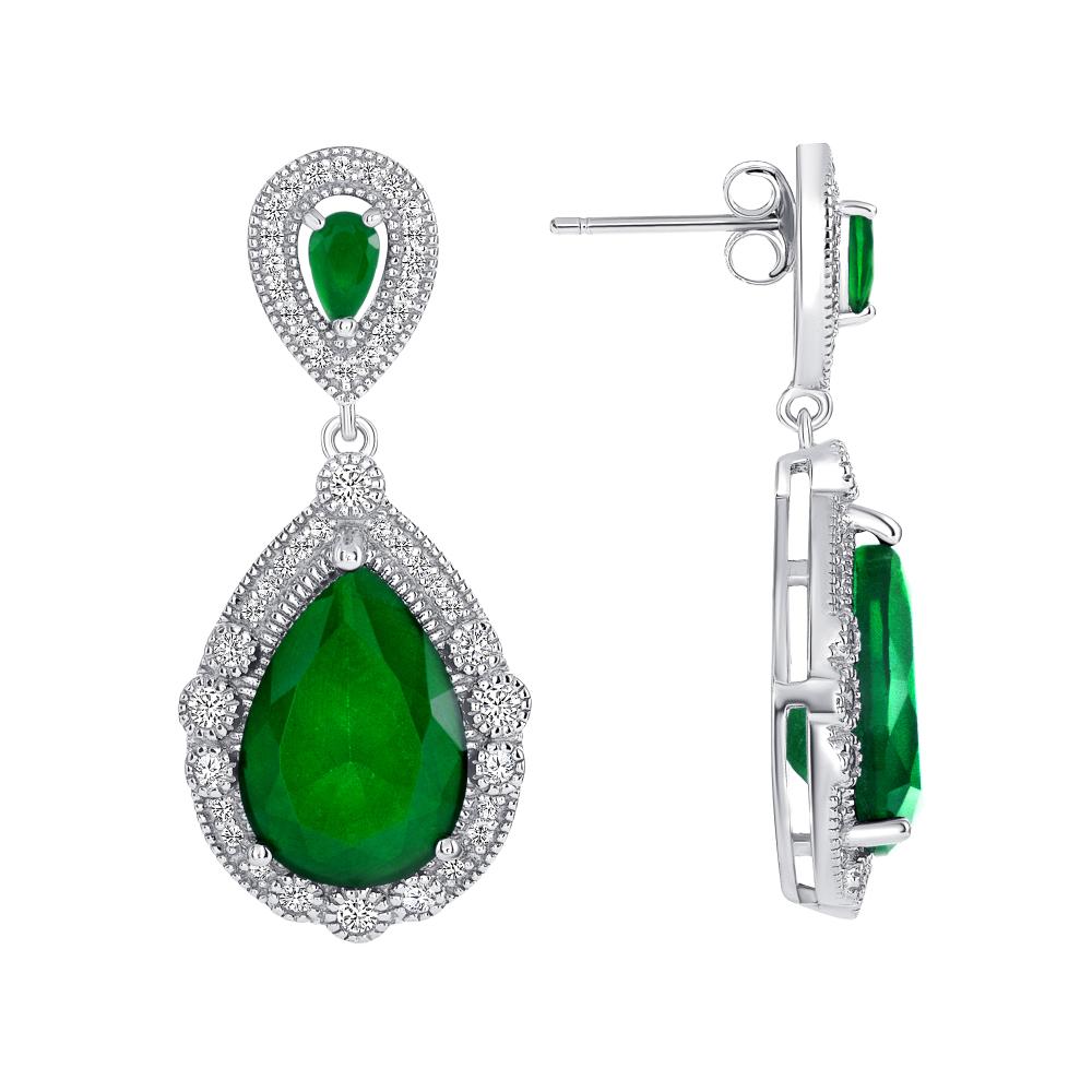 Sterling Silver Emerald Pear Shape Drop Earrings
