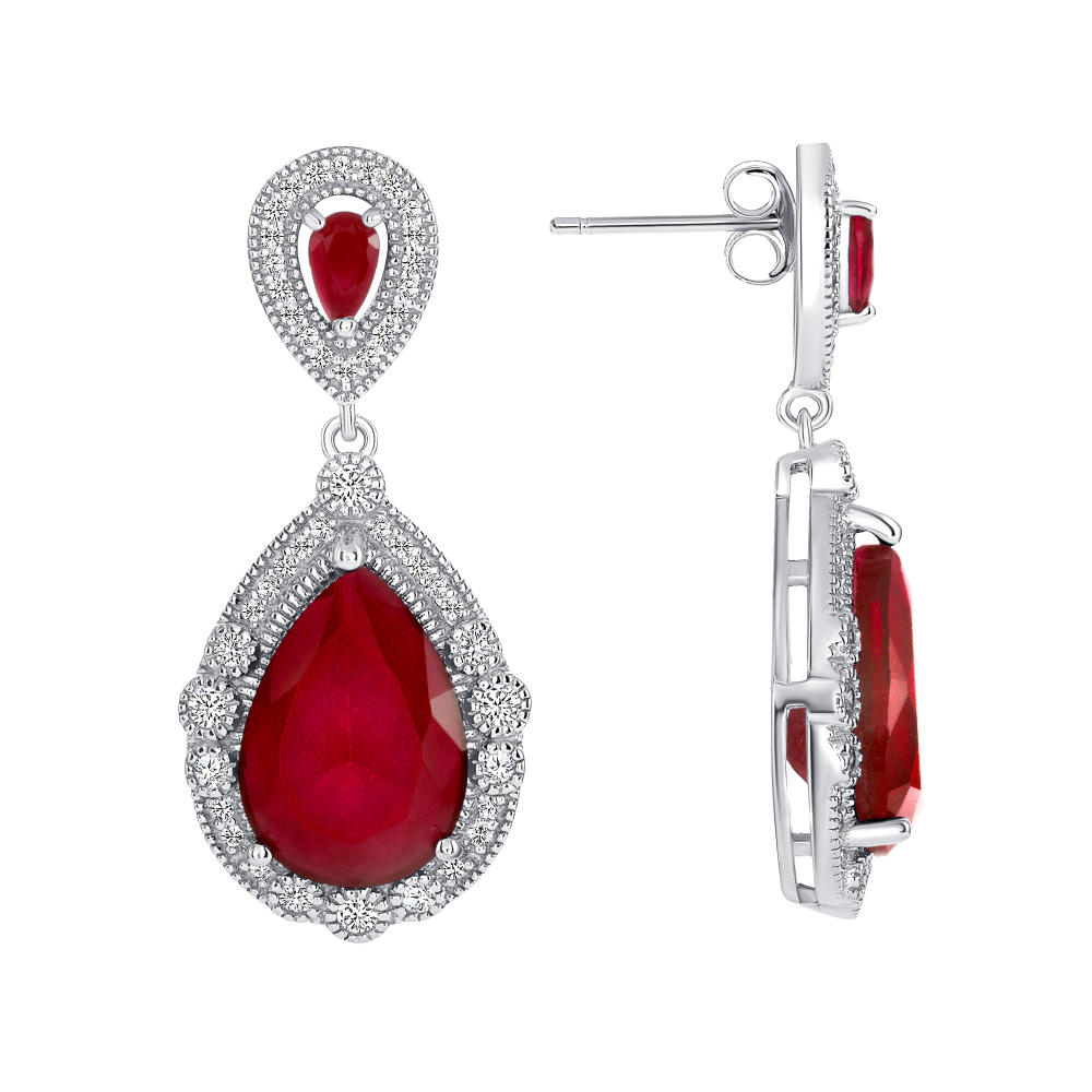 Sterling Silver Ruby Pear Shape Drop Earrings